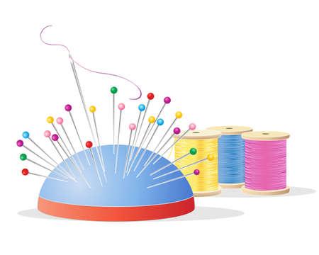 eine Darstellung eines Nadelkissen mit bunten Stiften ein Nadel und Faden und Baumwolle Rollen mit Stickgarn in rosa gelb und blau auf weißem Hintergrund Vektorgrafik