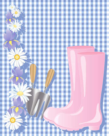 wellingtons: an illustration of a pair of pink wellington boots with trowel and fork and floral decoration on a blue gingham background