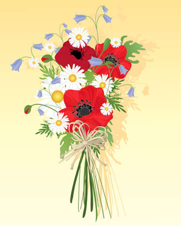 still life flowers: an illustration of a beautiful wildflower bouquet with harebells poppies and daisies tied with a rustic bow on a yellow background