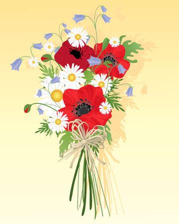 wild flowers: een illustratie van een mooie wilde bloemen boeket met grasklokjes papavers en madeliefjes gebonden met een rustieke boog op een gele achtergrond Stock Illustratie