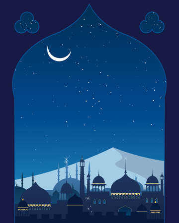 india city: an illustration of an exotic eastern city with mosques minarets domes and hills in the background under a starry night sky with a crescent moon