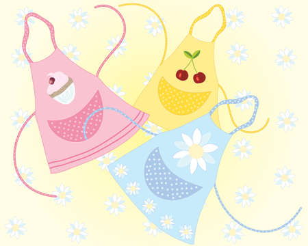 cookery: an illustration of three cookery aprons with different designs in pink blue and yellow with a daisy background Illustration