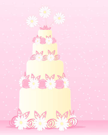 wedding cake: an illustration of an abstract cake decorated with stylized daisies roses and candy swirls on a pink background with confetti Illustration