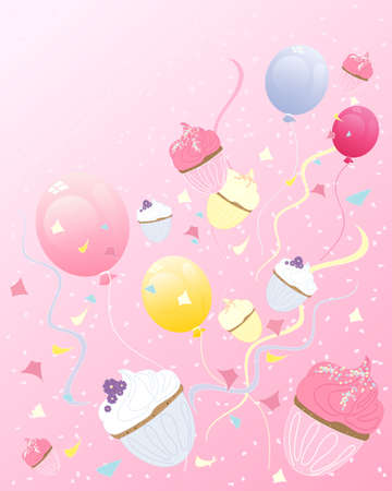 an illustration of abstract cupcakes with balloons streamers and confetti on a party background with space for text Vector