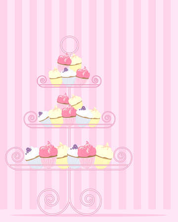 an illustration of a stylized cake stand with a variety of cupcakes in pink yellow and blue on a candy stripe background Vector