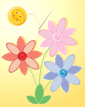 an illustration of three patchwork flowers with stitched leaves gingham petals and button middles under a yellow button sun Vector