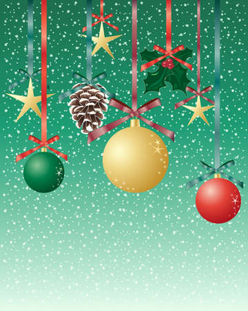 an illustration of christmas objects including baubles pine cones and holly hanging from satin ribbons and bows with a green snowy background Stock Vector - 14711796