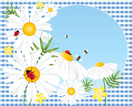 an illustration of summer daisies with ladybugs bees and a blue sky background with space for text on a blue gingham tablecloth