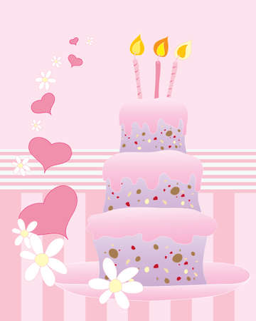 an illustration of an abstract birthday cake with three tiers pink frosting and decorative hearts and daisies on a candy stripe background Stock Vector - 14789929