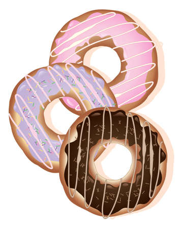 cookery: an illustration of three differently decorated doughnut rings with creamy frosting isolated on a white background