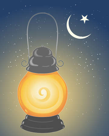 crescent moon: an illustration of a metallic lamp lit to celebrate the festival of ramadan in the islamic calender under a crescent moon and star with a starry sky background