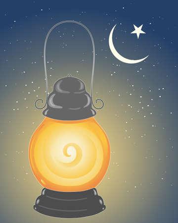 croissant de lune: une illustration d'une lampe m�tallique allum� pour c�l�brer la f�te du ramadan dans le calendrier islamique sous un croissant de lune et une �toile avec un fond de ciel �toil�