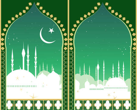an illustration of an islamic city skyline at night with crescent moon star domes mosques and minarets viewed through two fancy eastern style arches Vector