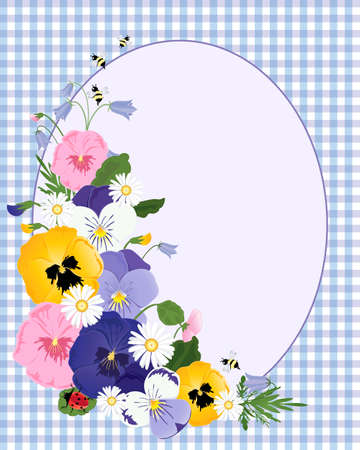 pansies: an illustration of an arrangement of pansy flowers with daisies foliage bees and ladybugs oval space for text and a blue gingham cloth background