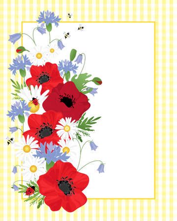 an illustration of an arrangement of wildflowers including poppies cornflowers and chamomile on a yellow gingham background with white note card for text and bees and ladybugs on the foliage Vector