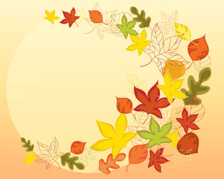 an illustration of colorful autumn leaves in an abstract form swirling around a big yellow sun with space for text Vector