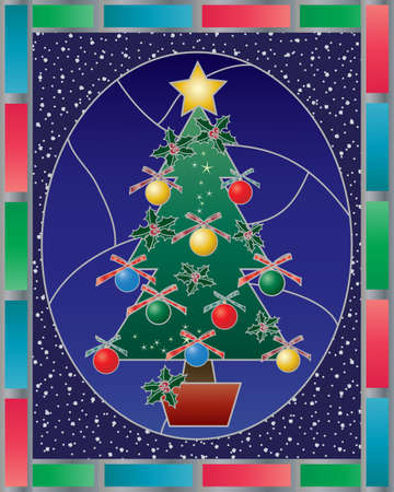 an illustration of an abstract stained glass christmas window with christmas tree and decorations snow and red blue and green border Vector