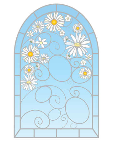an illustration of a beautiful stained glass window with daisy flowers in an abstract design on a white background Vector
