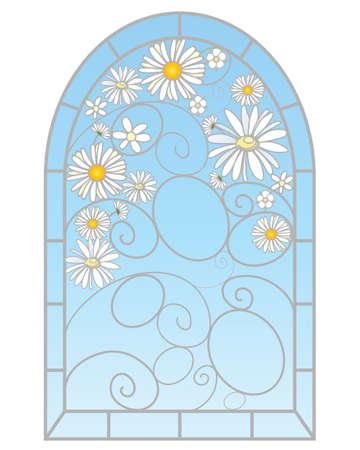 een illustratie van een mooie glas in lood raam met daisy bloemen in een abstract ontwerp op een witte achtergrond