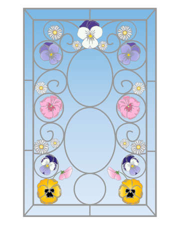 an illustration of a beautiful stained glass window with pansy flowers in an abstract design on a white background Vector