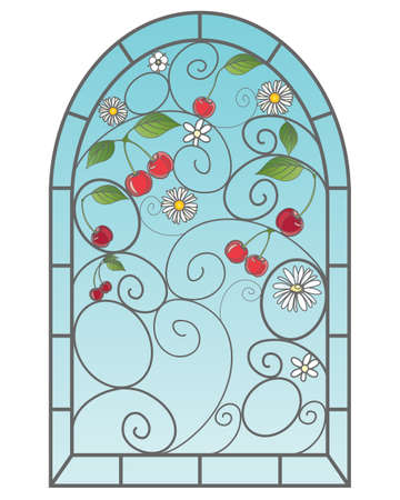 stained glass: an illustration of a beautiful stained glass window with cherry fruits in an abstract design with blue sky on a white background Illustration