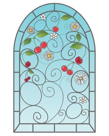 een illustratie van een mooie glas in lood raam met kersen vruchten in een abstract ontwerp met blauwe hemel op een witte achtergrond Stock Illustratie