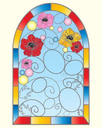 vetrate artistiche: un esempio di una bella finestra in vetro colorato con i fiori di papavero in un disegno astratto con cielo blu