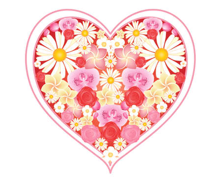 an illustration of a love heart full of a variety of floral decorations including daisies orchids and roses isolated on a white background Stock Vector - 14890138