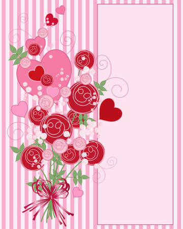 an abstract illustration of a bouquet of red and pink roses with hearts foliage and swirls on a candy stripe background with space for text Illustration