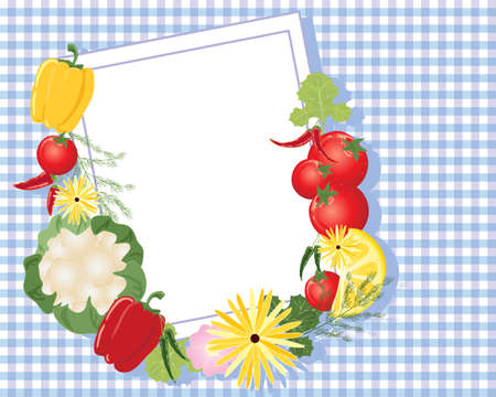 an illustration of a white note card with border and mixed fruit flowers and vegetables on a purple gingham tablecloth Stock Vector - 14964030