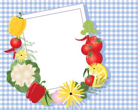 mezcla de frutas: una ilustraci�n de la tarjeta de nota blanca con borde y flores variadas de frutas y verduras en un mantel de algod�n a cuadros p�rpura