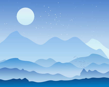 roosting: an illustration of a beautiful moonlit landscape at the start of a cold night in a mountain landscape with moon and stars and the last birds flying in to roost