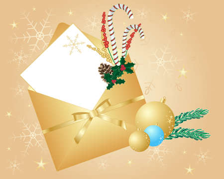 an illustration of a beautiful golden christmas envelope decorated with candy canes holly pine cones baubles and a golden ribbon on a snowflake glitter background with a white card left blank for text Stock Vector - 14993146