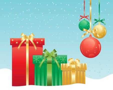 moños de navidad: una ilustración de tres bellamente envuelto regalos de Navidad con lazos de raso con adornos decorativos en un fondo azul del nevado verde