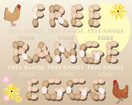 free range: an illustration of two chickens standing beside the words free range eggs under a sun with flowers on a beige background
