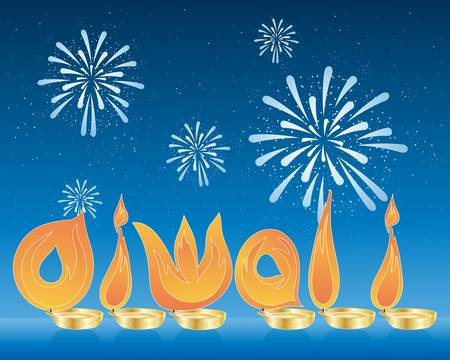 an illustration of flames spelling the word diwali in asian gold candle holders with a backdrop of a starry night sky and fireworks