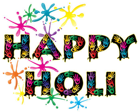 an illustration of the words happy holi covered in colorful hand prints with paint splashes to celebrate the festival isolated on a white background Stock Vector - 15225453
