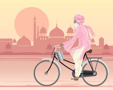 mughal: an illustration of a sikh man on a bicycle travelling along a hot city road at sunset in traditional dress with a tiffin and mughal architecture in the background Illustration
