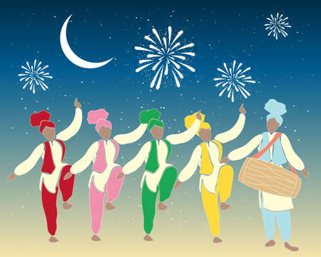 an illustration of a group of colorful punjabi dancers with drummer under a festive night sky