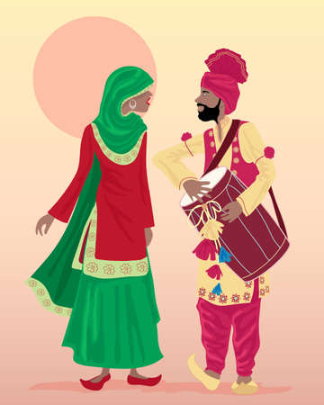 salwar: an illustration of male and female punjabi dancers dressed in traditional clothing with salwar kameez and turban playing a drum with a hot dusty background