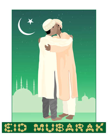 kameez: an illustration of of two muslims greeting each other in the festival of eid mubarak with mosque background under a starry sky and crescent moon