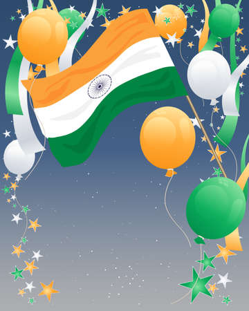 an illustration of an india flag with balloons and ribbons in india colors to celebrate independence day on a starry sky background Stock Vector - 15375728