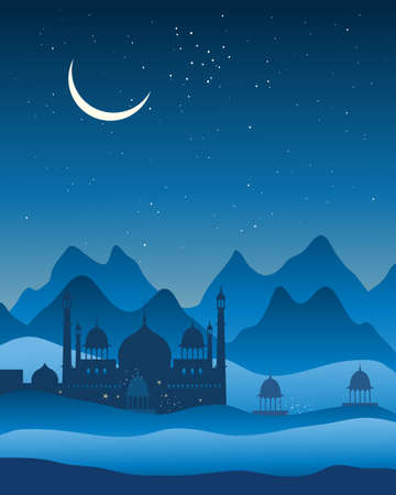 the crescent moon: an illustration of asian architecture in a mountain background under a blue starry sky with a crescent moon Illustration