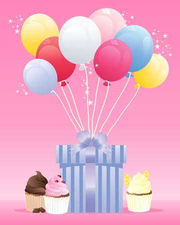 an illustration of a birthday present wrapped in blue striped paper with a satin ribbon and colorful balloons on a candy pink background with sparkles and birthday cup cakes Vector