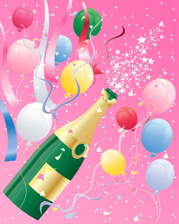 party streamers: an illustration of a champagne bottle popping with balloons ribbons and confetti in celebration of new year on a candy pink background