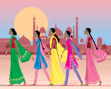 an illustration of five asian women wearing traditional salwar kameez and sarees walking along a dusty street in india with exotic architecture under a setting sun