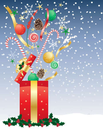an illustration of a christmas present opening Vector