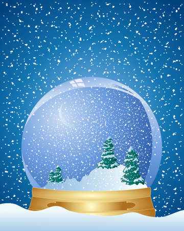 an illustration of a snow globe on a metallic base with green fir trees inside under a night time snowy background Vector