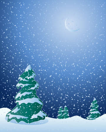 an illustration of fir trees in a cold winter landscape with moon and snowflakes falling in a dark night sky