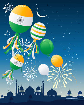 an illustration of india independence day celebrations with murghal architecture skyline and fireworks under a starry sky with balloons in colors of the national flag
